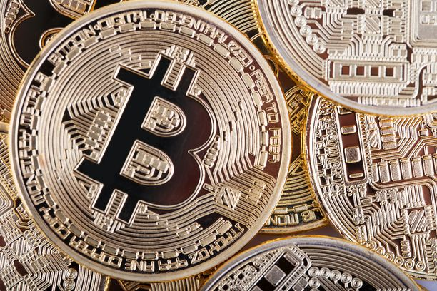 Business background from virtual bitcoin currency