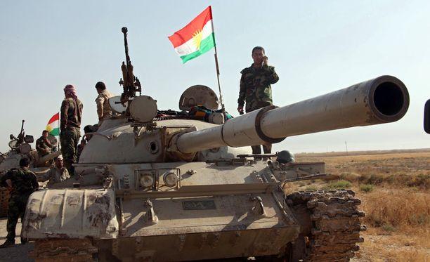 Peshmerga-joukkoja Kirkukissa viime elokuussa.