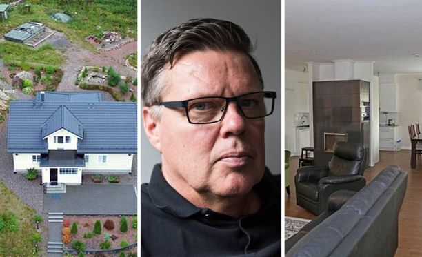 Jari Aarnion talona tunnettu kiinteistö huutokaupattiin. Helsingin hovioikeus oli tuominnut Aarnion menettämään talon valtiolle. Kuvayhdistelmä.