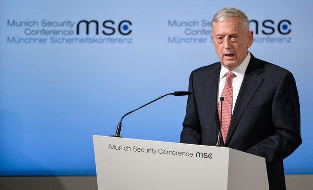 USA:n puolustusministeri James Mattis puhui Münchenin turvallisuuskonferenssissa.