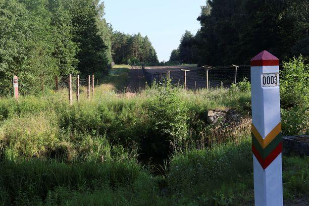 Liettuan ja Valko-Venäjän välinen raja Liettuan Kapčiamiestisin kaupungissa.