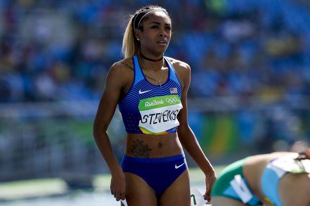 Deajah Stevens juoksi 200 metrin olympiafinaalissa vuonna 2016.