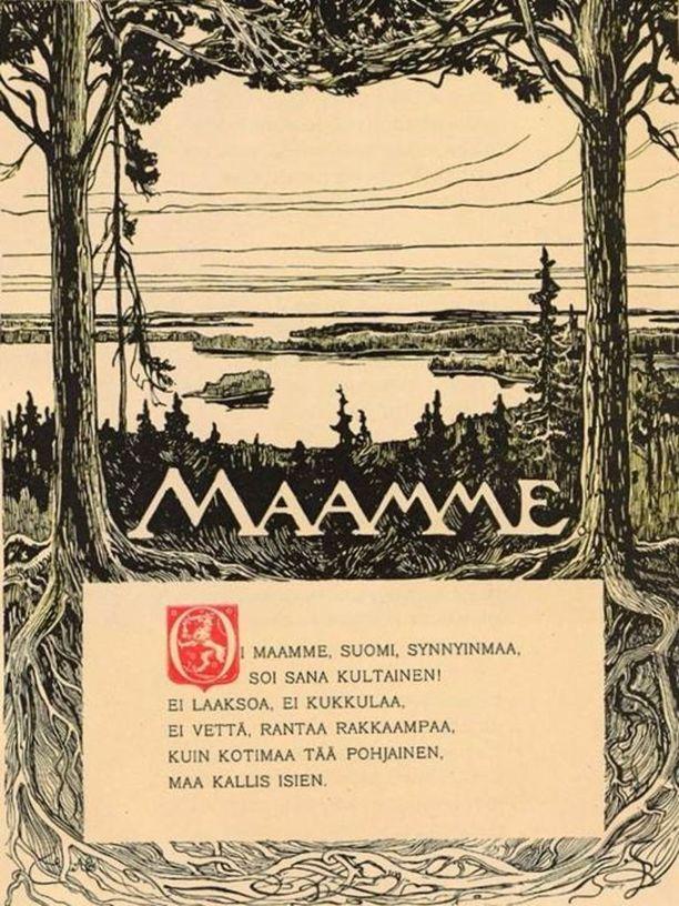 Vänrikki Stoolin tarinat vuoden 1898 painoksena. Kuvitus Albert Edelfelt. Maamme-laulun sanat vielä alkuperäisessä vuoden 1867 muodossa: pohjainen, ei pohjoinen.