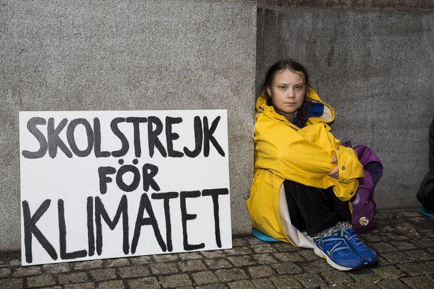 Greta Thunberg aloitti ilmastolakot jo elokuussa 2018.