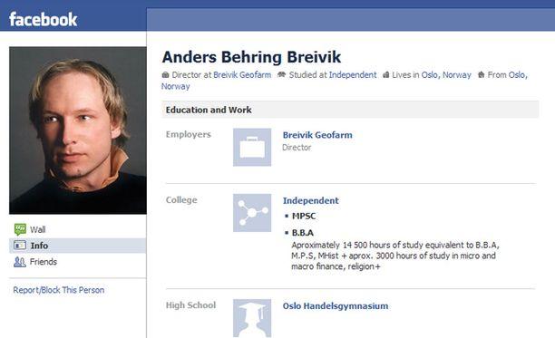Poliisi epäilee, että iskujen takana on oslolainen Anders Behring Breivik. Miehen Facebook-profiili on yhä auki. Yhteisöön on perustettu useita viharyhmiä, jotka tuomitsevat ammuskelun.