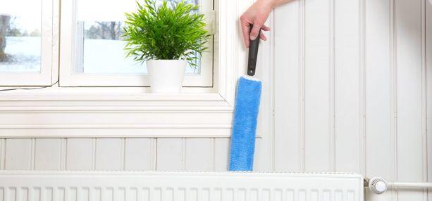 Pölymiekalla onnistuu myös pattereiden välien puhdistus pölystä.