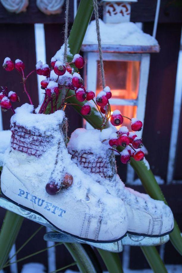 Satu Räikkönen pukee puutarhansa talvisiin koristeisiin ja tunnelmallisiin valoihin.
