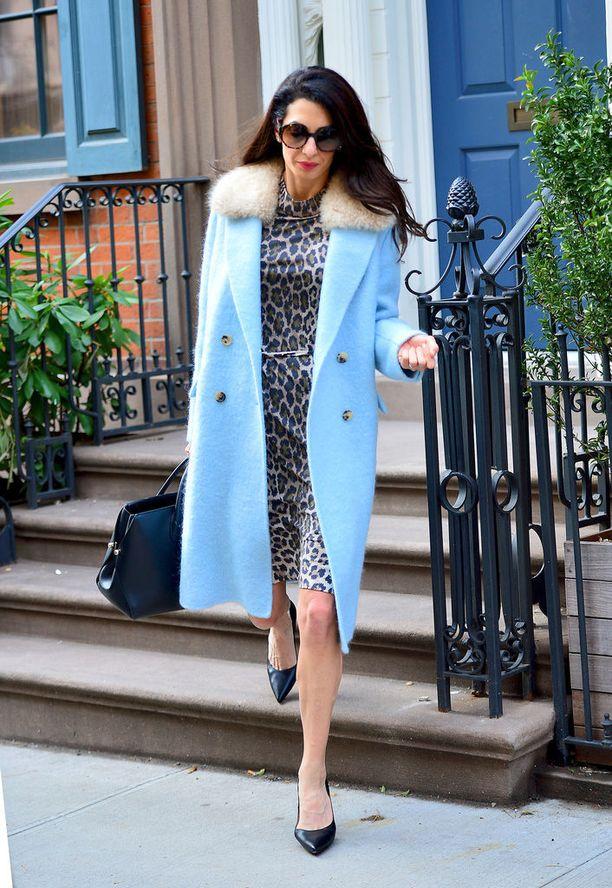 Leopardikuosi on nyt muotia, ja se toimii myös asiallisessa pukeutumisessa - kuten Amalin simppelissä kotelomekossa. Vaaleansininen takki on suorastaan suloinen.