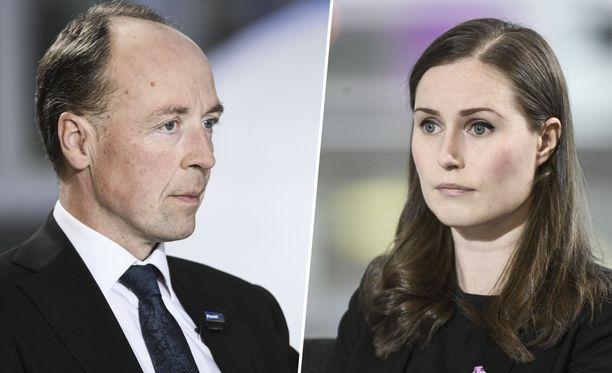 Jussi Halla-ahon (ps) ja Sanna Marinin (sd) johtamilla puolueilla on käynnissä tasainen kamppailu suosituimman puolueen tittelistä.