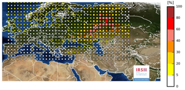 IRSN:n laatima kartta, joka esittää vuodon todennäköisintä tapahtumapaikkaa.