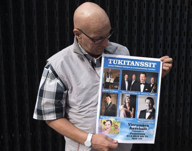 Useat artistit osallistuvat Jarmo Pellisen tukitansseihin Aavehallissa Vierumäellä 21. syyskuuta tukeakseen hänen syöpähoitojaan.