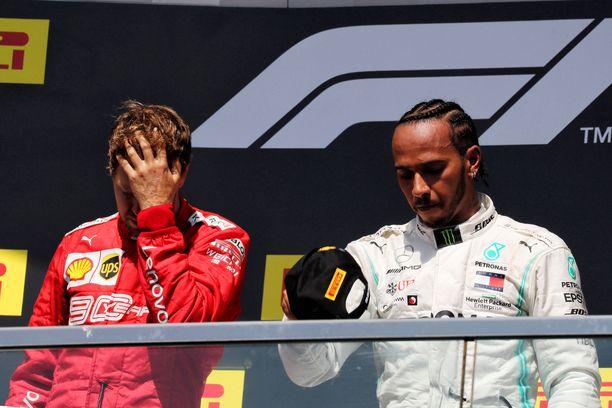 Sebastian Vettel ja Lewis Hamilton olivat kiusaantuneita Kanadan GP:n palkintojenjaossa.