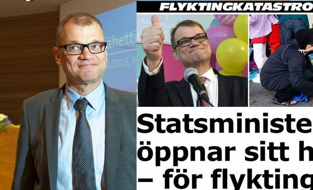 Pääministeri Juha Sipilän ilmoitus kotinsa antamisesta turvapaikanhakijoille nousi Ruotsissa Aftonbladet-lehden pääuutiseksi lauantaina iltapäivällä.