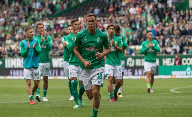 Niklas Moisander kuuluu Werder Bremenin johtaviin pelaajiin.