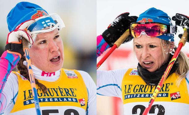 Riitta-Liisa Roponen (oikealla) liittyy viestijoukkueeseen Kerttu Niskasen sairastuttua.