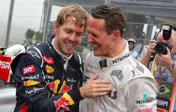 Vettel ja Schumacher jakoivat F1-radat 2010–2012. Kaksikko kunnioitti toisiaan.