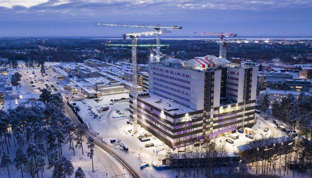 Oulun yliopistollisella sairaalalla on rakennustyömaa.