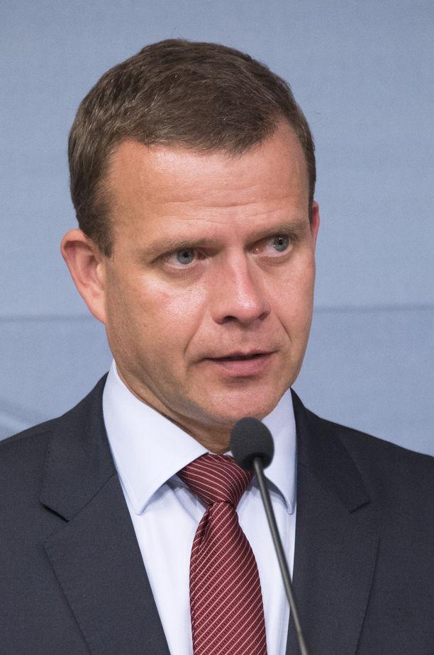Petteri Orpo hallituksen tiedotustilaisuudessa 13. kesäkuuta, perussuomalaisten jakautumisen jälkeen.