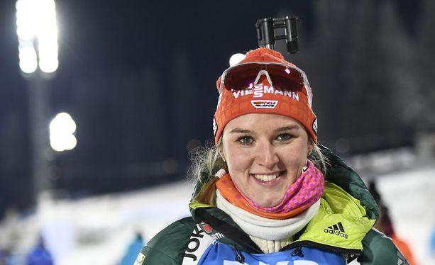 Denise Herrmann voitti perjantaina ampumahiihdon maailmancupin osakilpailun.