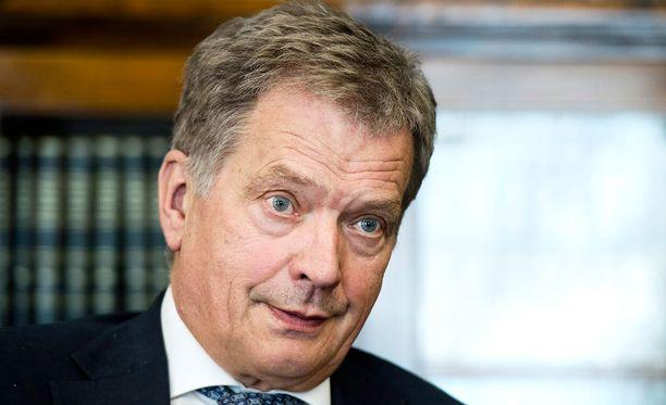 Tasavallan presidentti Sauli Niinistö antoi Ylelle suoran televisiohaastattelun. Arkistokuva.