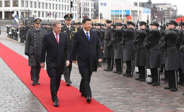 Sauli Niinistö ja Kiinan presidentti Xi Jinping tapasivat eilen Helsingissä.