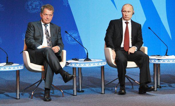 Sauli Niinistö tapasi Venäjän presidentti Vladimir Putinin vuonna 2013.