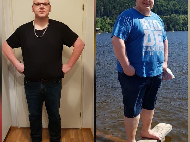 Jarkko Wilén onnistui hurjassa elämäntaparemontissa. Kuvien välillä vajaa kolme vuotta.