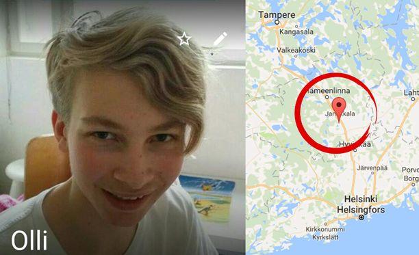 Vanhemmat pelkäävät kadonneen Olli Talosen olevan vaarassa. Hän katosi Janakkalan Tervakoskelta.
