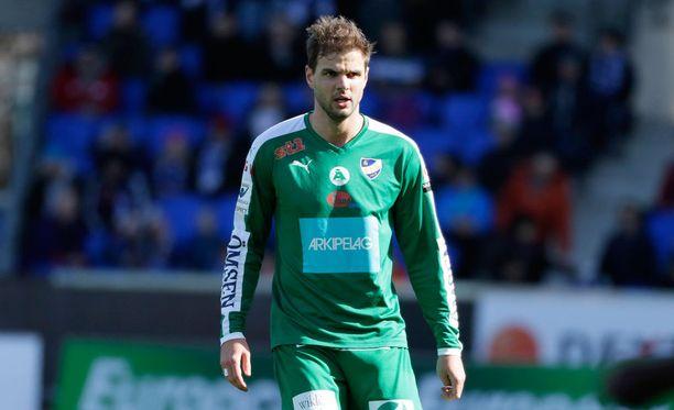 IFK Mariehamnin Aleksei Kangaskolkka teki kauden ensimmäisen liigamaalinsa.
