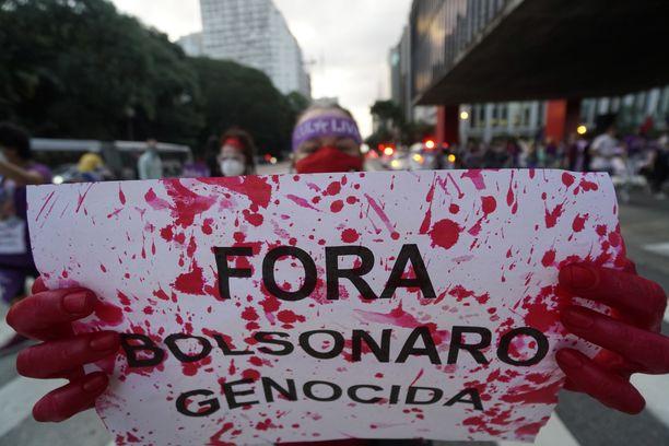 Naistenpäivän mielenosoitus Sao Paulossa.