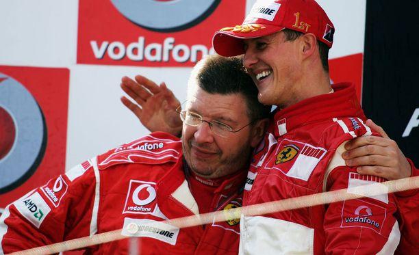 F1-sarjassa menestyneet Ross Brawn ja Michael Schumacher ovat läheisiä ystäviä.
