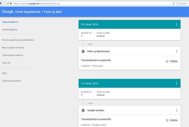Puhe ja ääni -sivulta näet puhepätkät, jotka Google on tallentanut. Klikkaamalla saat kuvan suuremmaksi.
