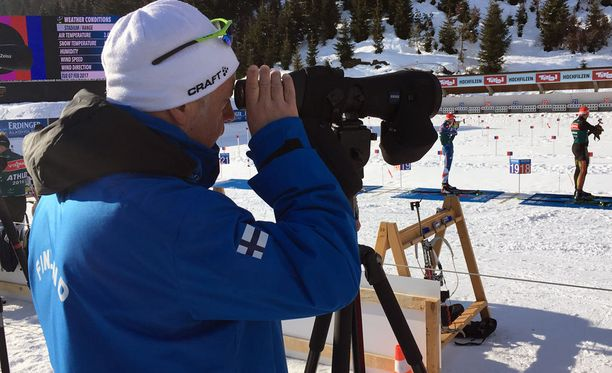 Asko Nuutinen ampumahiihdon MM-kisoissa Hochfilzenissä helmikuussa 2017.