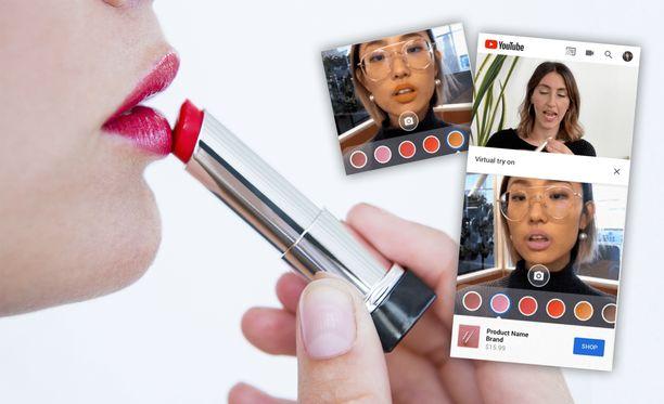Puhelimen etukameran avulla voi etsiä itselleen sopivaa huulipunaa.