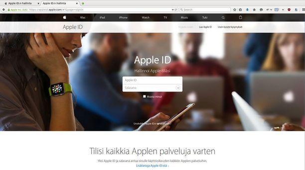 Tällainen on aito Applen sivusto.