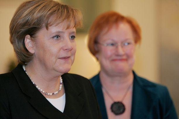Saksan liittokansleri Angela Merkel ja Suomen entinen presidentti Tarja Halonen tapasivat useita kertoja Halosen presidenttikausien aikana. Tämä kuva on otettu vuonna 2006.