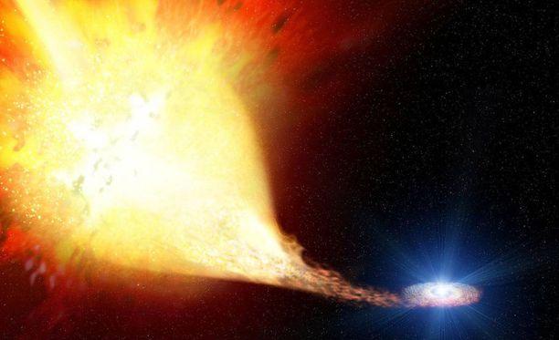 Supernova tarkoittaa massiivisten tähtien räjähdystä. Kuvan räjähdys ei liity nyt havaittuun supernovaan, vaan kuvassa on vuonna 2004 havaittu räjähdys.