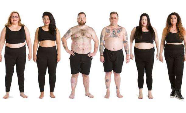 Tältä julkkiskilpailijat näyttivät, kun ohjelma alkoi. Katso jutun lopusta, miten kilot karisivat kilpailijoiden yltä.