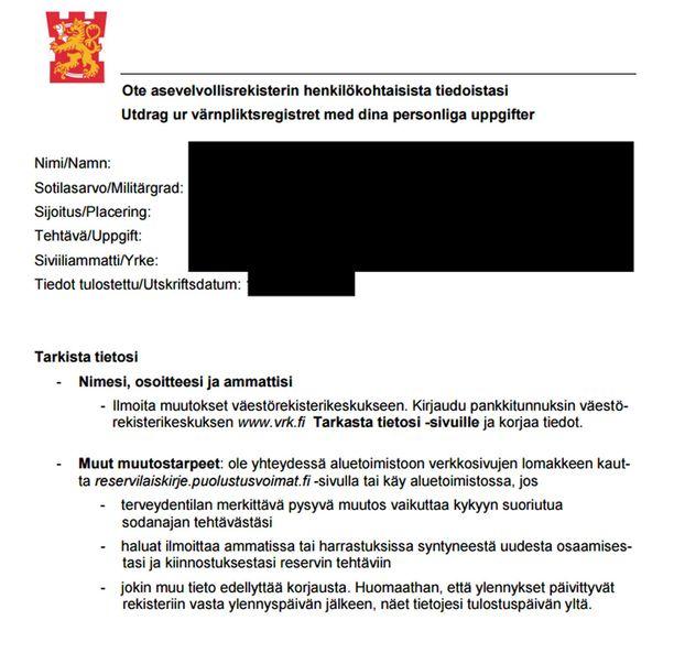 Puolustusvoimat poisti kirjeen pdf-version verkkosivuiltaan virheen paljastuttua.