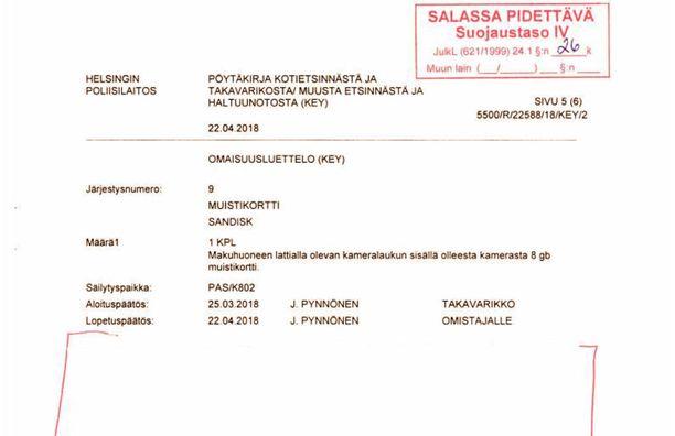 Huumerikosta tutkinut poliisi on salannut sivun verran Jari Sillanpäältä takavarikoituun muistikorttiin liittyvää aineistoa.