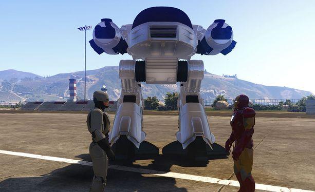 """Igorek muistuttaa kovasti Robocop-elokuvan """"tulevaisuuden poliisia"""" ED-209:ää."""