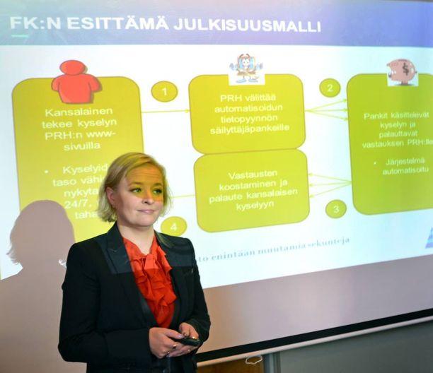 Finanssialan keskusliiton toimitusjohtaja Piia-Noora Kauppi esitteli maanantaina FK:n ja valtiovarainministeriön suunnitelmia varmistaa osakeomistusten julkisuus hallintarekisterijärjestelmästä huolimatta.