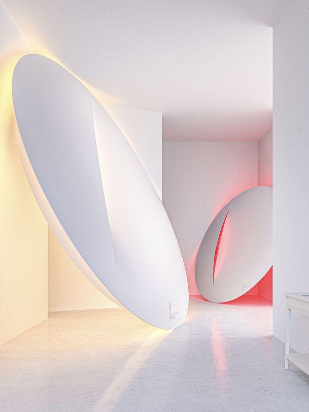 Sabine Marcelis sai mallistoa varten suunnittelemaansa teokseen innoitusta italialaismaalari Lucio Fontanan viillellyistä kankaista. Hän halusi käyttää samaa yksinkertaista elementtiä, viillettyä pintaa, valaisimessa. Valaisimia on saatavana kahta kokoa, ja niiden valon väriä pystyy vaihtamaan viiden eri vaihtoehdon välillä.