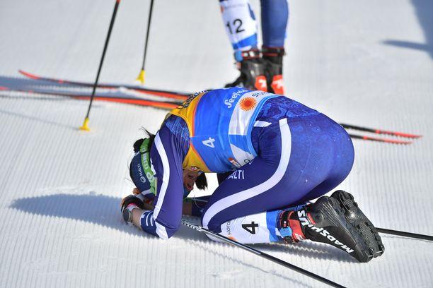 Krista Pärmäkoski päätyi sijalle kahdeksan MM-hiihtojen yhdistelmäkilpailussa lauantaina.