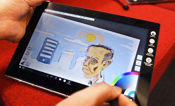 Yoga Book -tabletti. Pete Anikari piirtää.