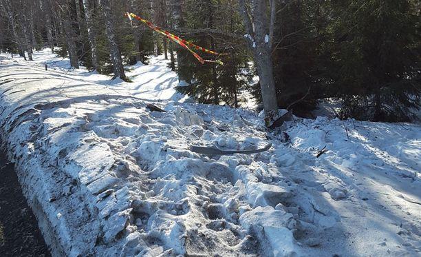 Lumessa näkyy useamman tieltä suistuneen auton jäljet.