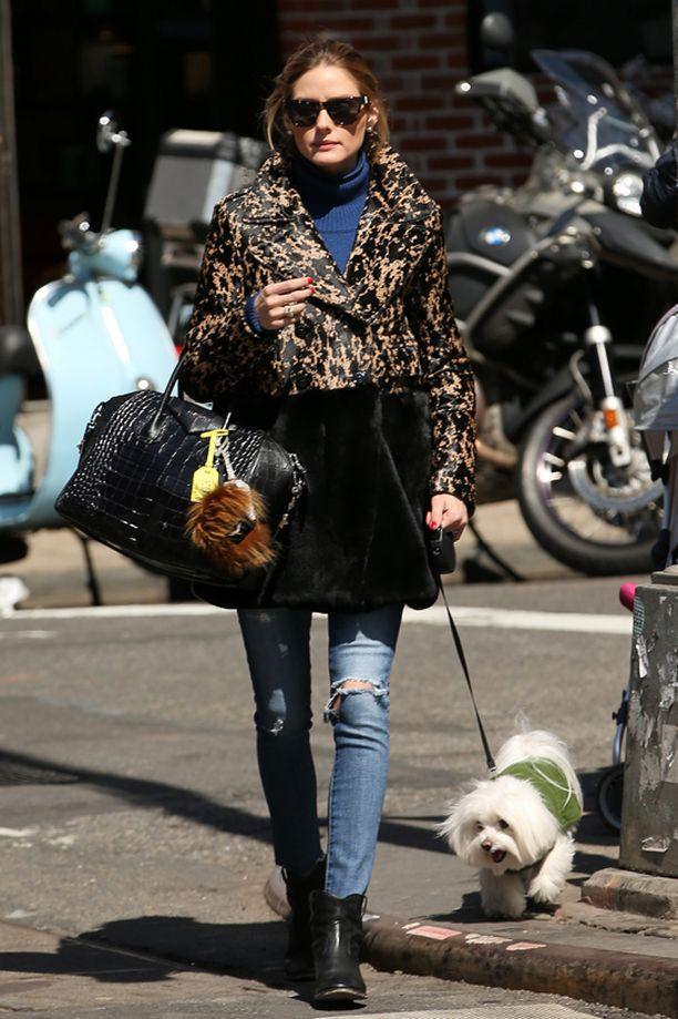 Olivia Palermon takin pantterikuosi sopii juuri sopivasti naisen hiustenväriin.