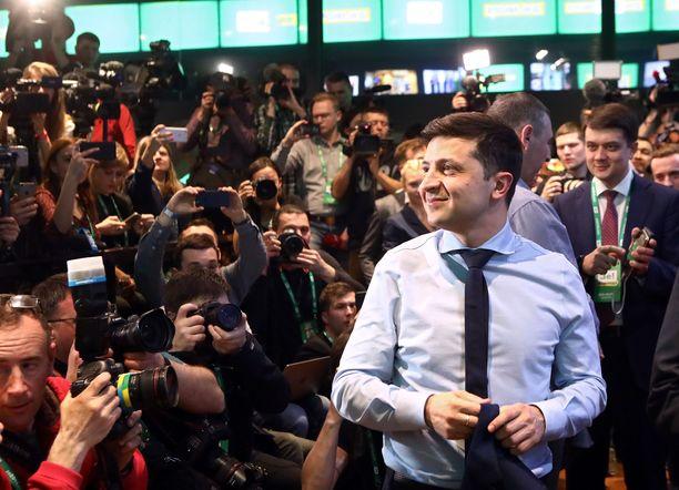 Volodymyr Zelenskii kuvattiin 31. maaliskuuta vaalien ennakkotulosten tultua julki.