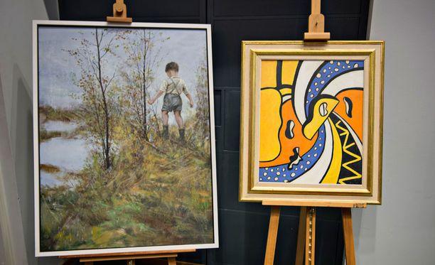 KRP:n taideväärennöksiä vuodelta 2013. Vas. Ilkka Lammin teoksen väärennös, josta pyydettiin kymmeniä tuhansia euroja ja oik. ranskalaisen Fernand Légerin Le Cirque -maalauksen väärennös, jonka kauppahinta oli 2,2 miljoonaa euroa.