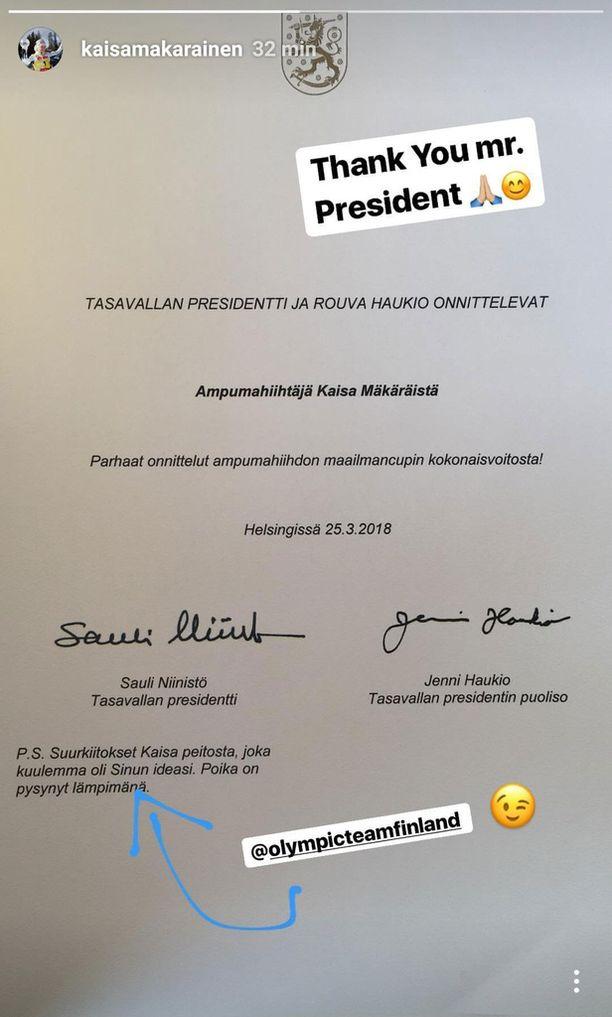 Sauli Niinstön ja Jenni Haukion onnittelukirje Mäkäräiselle.